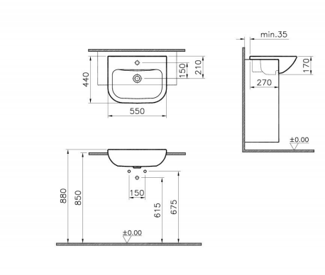 Vitra S20 55 x 44cm Semi Recessed Basin