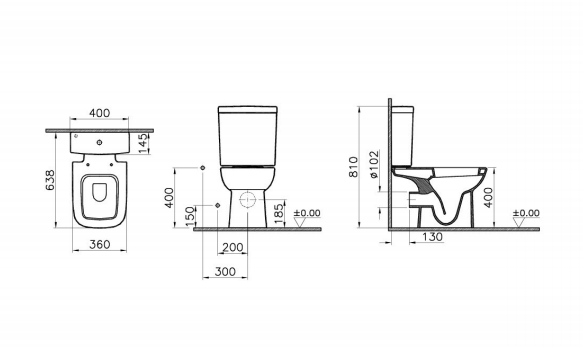 Vitra S20 Close Coupled WC (Open Back)