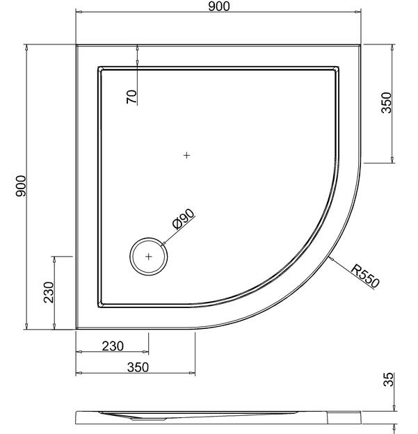 Zamori 900 X 900mm White Quadrant Shower Tray