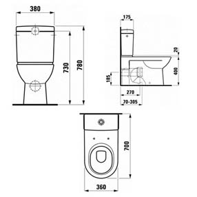 Laufen Pro Close Coupled WC Suite Back To Wall