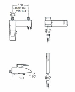 Roca Thesis Wall Mounted Bath Shower Mixer