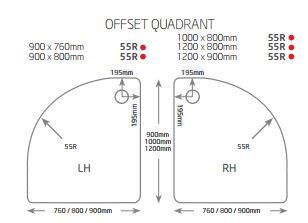 JT Ultracast 900 x 800mm Offset Quadrant Shower Tray
