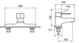Roca Targa Deck Mounted Bath Filler